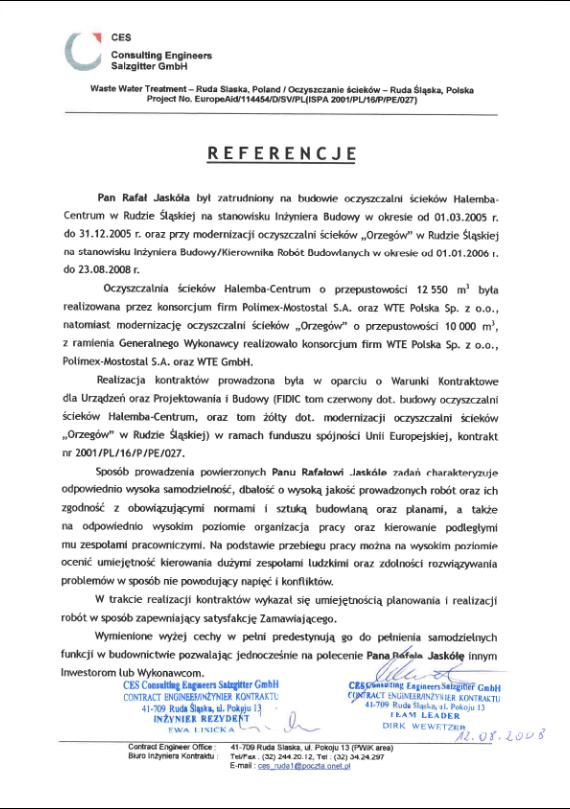 List referencyjny CES
