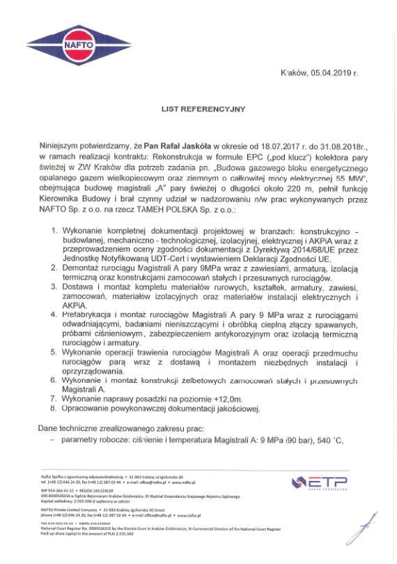 List referencyjny NAFTO