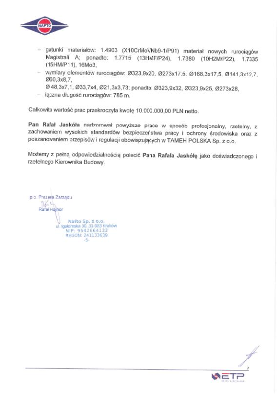 Dalsza część listu referencyjnego NAFTO