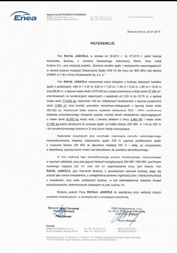 List referencyjny Enea