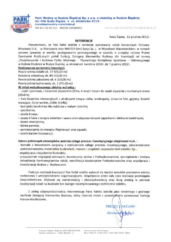 List referencyjny Park Wodny wRudzie Śląskiej
