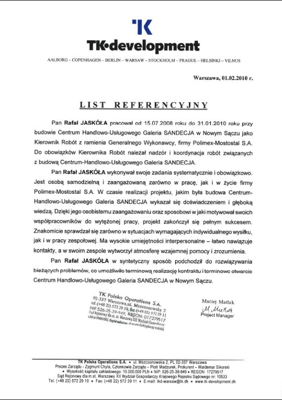 List referencyjny TK Development
